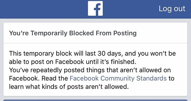 Thông báo khóa tài khoản Facebook tạm thời vì vi phạm bản quyền âm nhạc